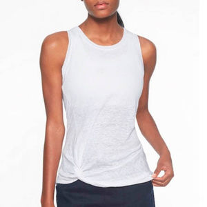 White Linen Tank XL Athleta Zephyr Knot Top